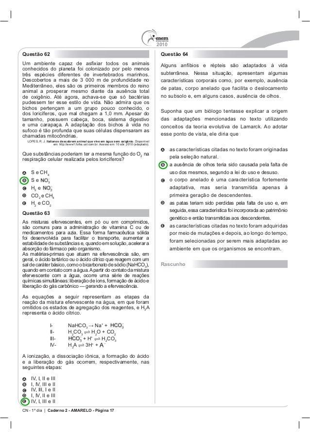 2010 CN - 1º dia | Caderno 2 - AMARELO - Página 17 Questão 62 Italianos descobrem animal que vive em água sem oxigênio na ...