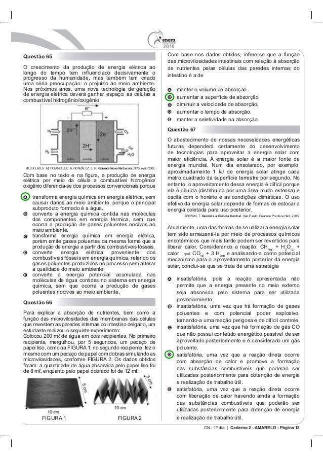 2010 CN - 1º dia | Caderno 2 - AMARELO - Página 18 Questão 65 O cresci Química Nova Na Escola. No Com bas dos componentes ...