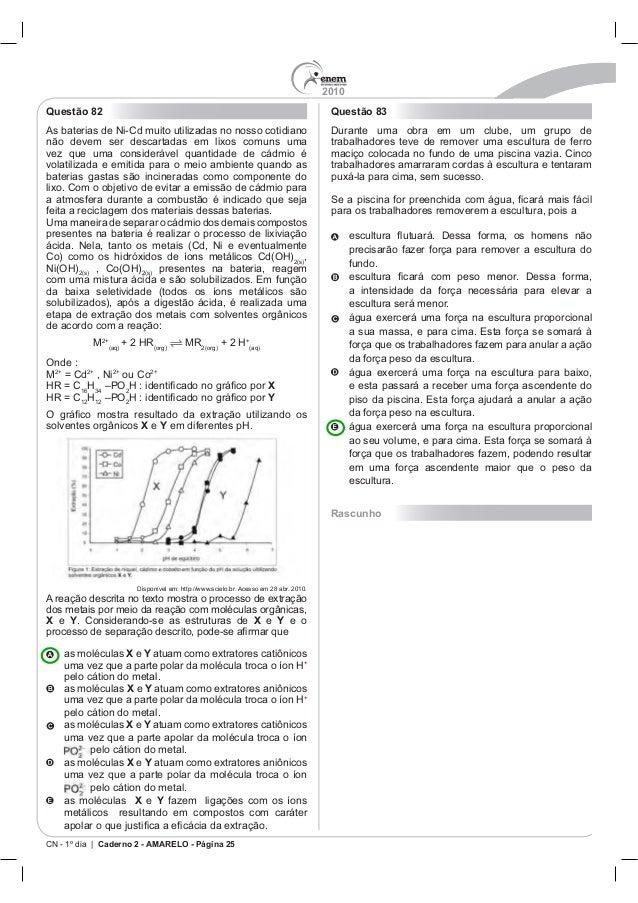 2010 CN - 1º dia | Caderno 2 - AMARELO - Página 25 Questão 82 Uma maneira de separar o cádmio dos demais compostos , prese...