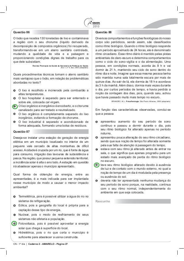 2010 CN - 1º dia | Caderno 2 - AMARELO - Página 27 Questão 86 Revista Promoção da Saúde da Secretaria de Políticas de Saúd...