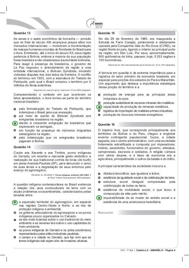 2010 CH - 1º dia | Caderno 2 - AMARELO - Página 4 Questão 13 Bolivian Syndicate, iniciando Compreendendo o con Bolivian Sy...