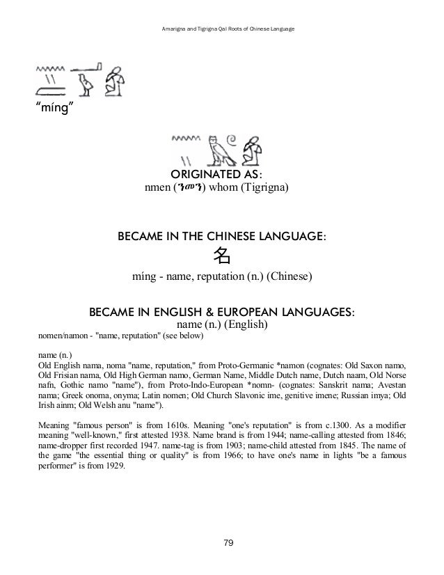 Amarigna and Tigrigna Qal Roots of Chinese Language 81