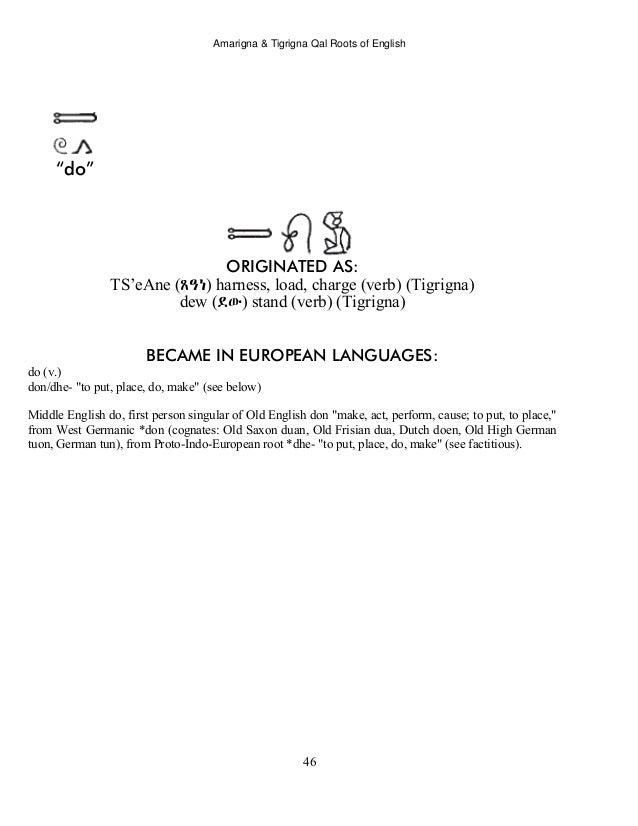 Amarigna & Tigrigna Qal Roots of English Language