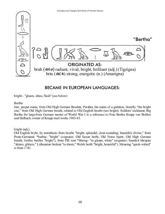 21 Amarigna And Tigrigna Qal Roots Of Female Names