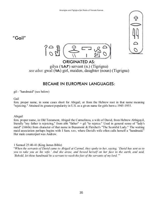 Amarigna & Tigrigna Qal Roots of Female Names
