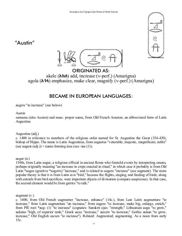 14 Amarigna And Tigrigna Qal Roots Of Male Names