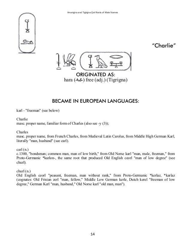 19 Amarigna And Tigrigna Qal Roots Of Male Names