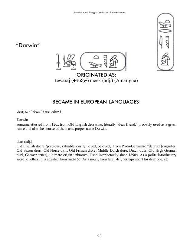 28 Amarigna And Tigrigna Qal Roots Of Male Names