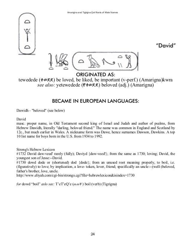 Amarigna & Tigrigna Qal Roots of Male Names