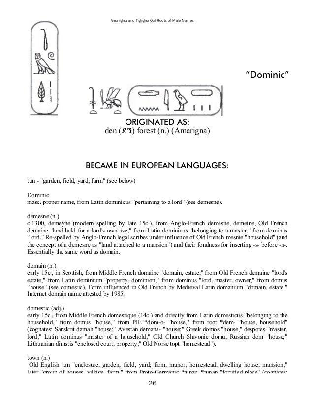31 Amarigna And Tigrigna Qal Roots Of Male Names
