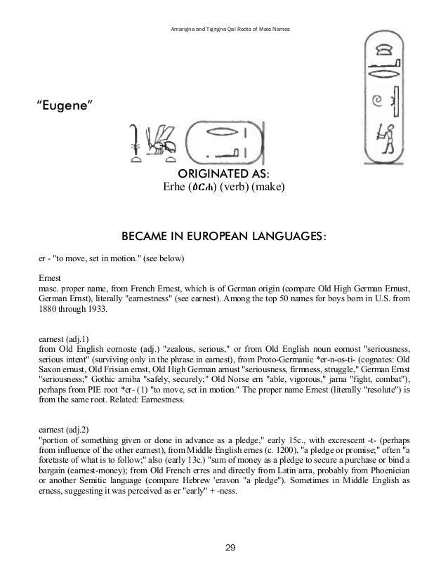 34 Amarigna And Tigrigna Qal Roots Of Male Names