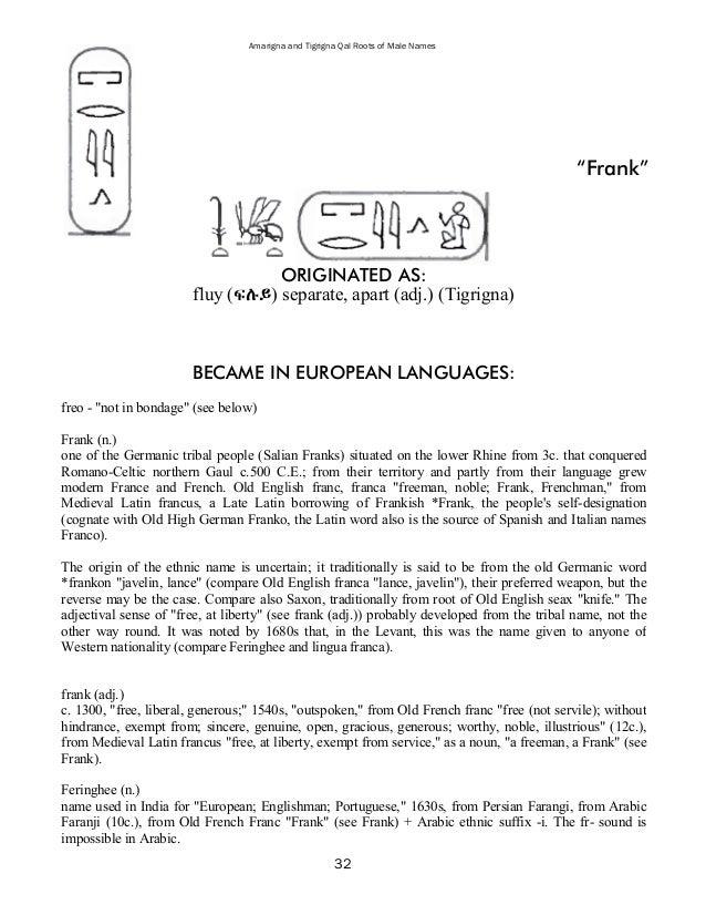 Amarigna 37 And Tigrigna Qal Roots Of Male Names