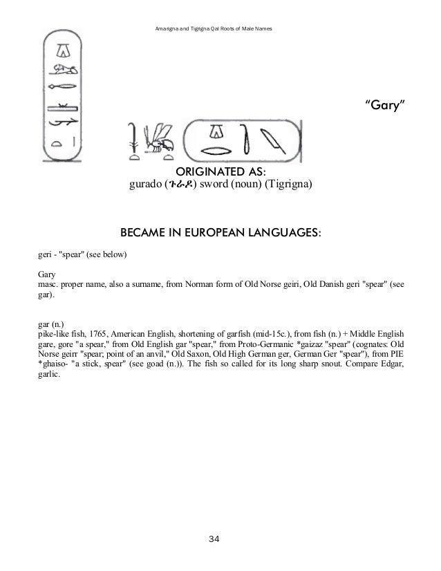 39 Amarigna And Tigrigna Qal Roots Of Male Names