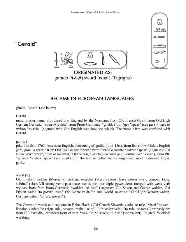40 Amarigna And Tigrigna Qal Roots Of Male Names