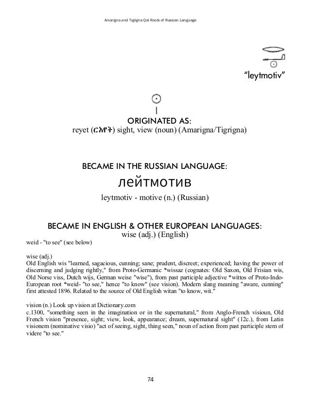 Amarigna  Tigrigna Qal Roots Of Russian Language