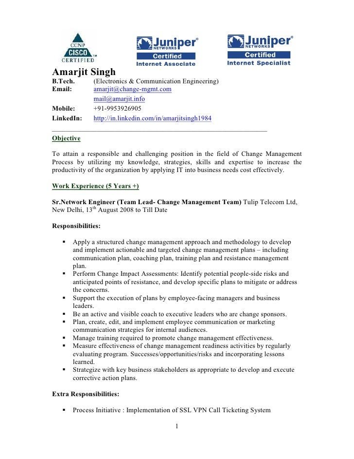 Resume for network administrator fresher