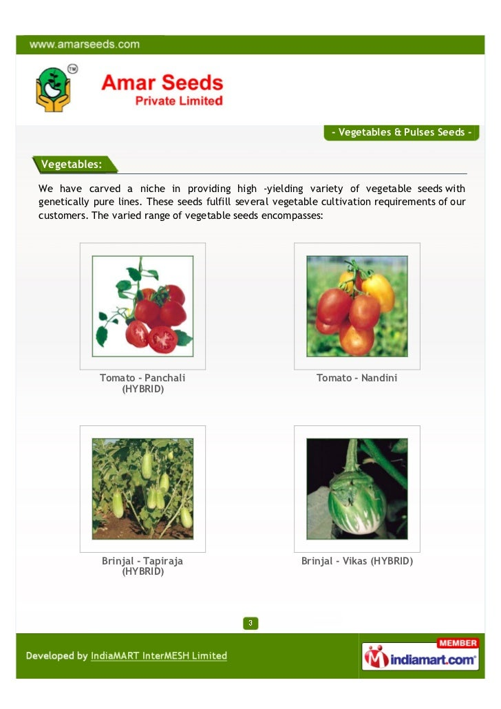 - Vegetables & Pulses Seeds -Vegetables:We have carved a niche in providing high -yielding variety of vegetable seeds with...