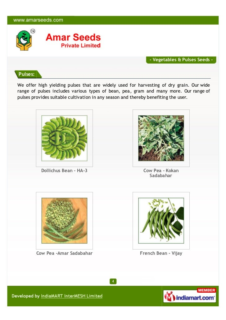 - Vegetables & Pulses Seeds -Pulses:We offer high yielding pulses that are widely used for harvesting of dry grain. Our wi...