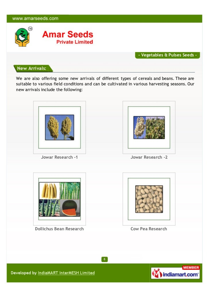 - Vegetables & Pulses Seeds -New Arrivals:We are also offering some new arrivals of different types of cereals and beans. ...