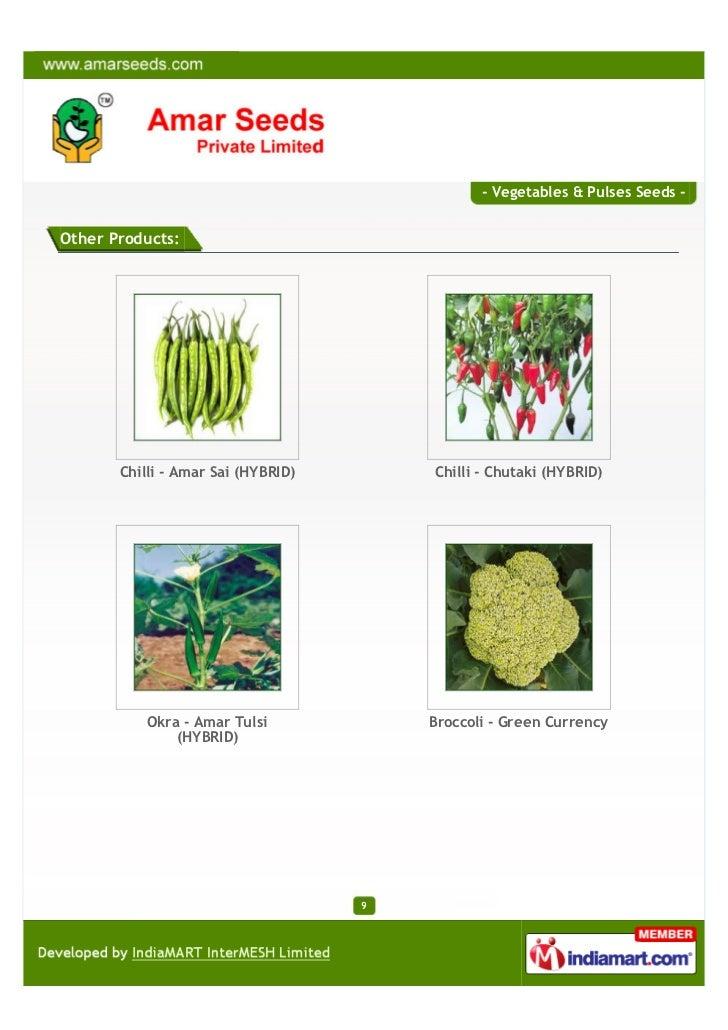 - Vegetables & Pulses Seeds -Other Products:       Chilli - Amar Sai (HYBRID)       Chilli - Chutaki (HYBRID)           Ok...