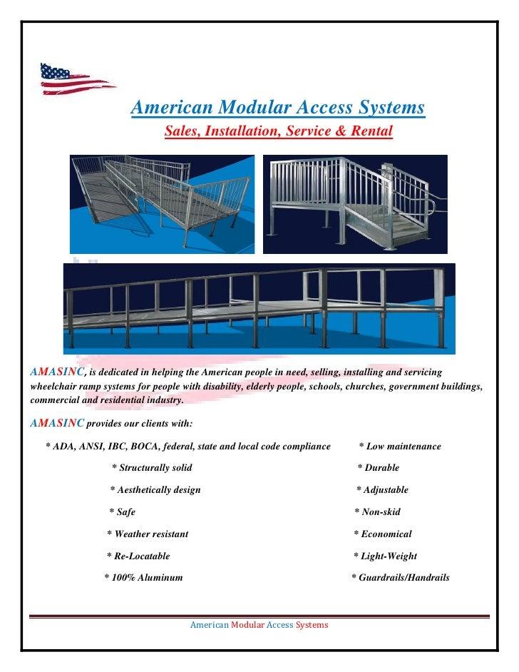 American Modular Access Systems                                 Sales, Installation, Service & Rental     AMASINC, is dedi...
