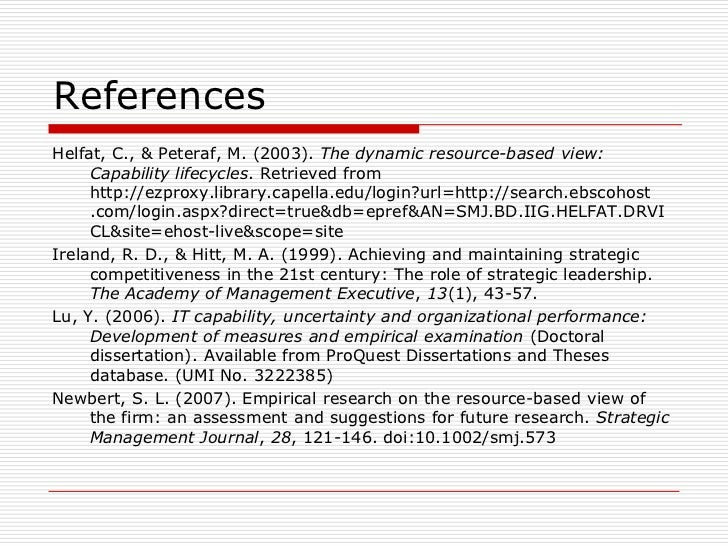 thesis resource based view Thesis writing thesis writing the resource based theory or resource based view helps in determining the resources available within the firm and relates them with.