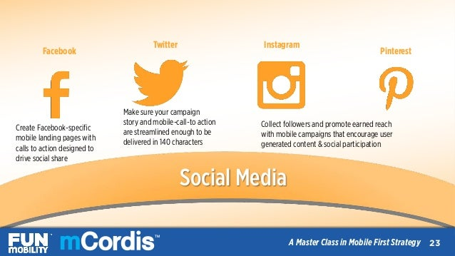 TM A Master Class in Mobile First Strategy Facebook Twitter  Instagram Pinterest Create Facebook-specific mobile landin...
