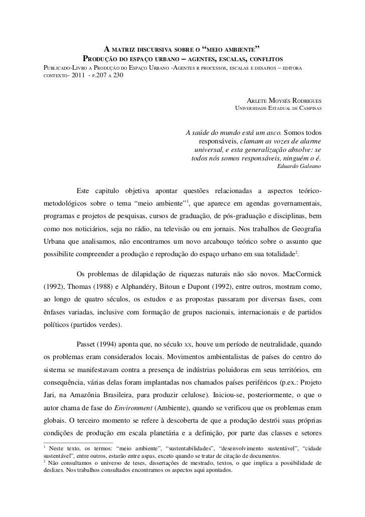 """A MATRIZ DISCURSIVA SOBRE O """"MEIO AMBIENTE""""              PRODUÇÃO DO ESPAÇO URBANO – AGENTES, ESCALAS, CONFLITOSPUBLICADO-..."""