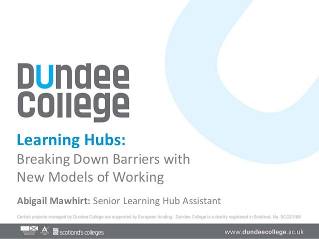 Learning Hubs:Breaking Down Barriers withNew Models of WorkingAbigail Mawhirt: Senior Learning Hub Assistant