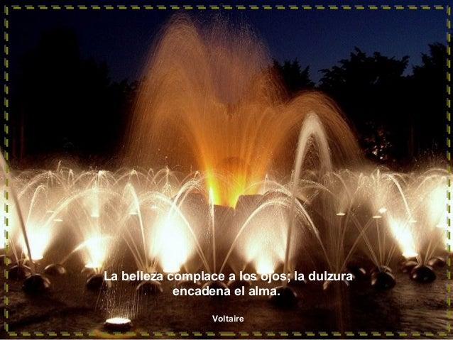 La belleza complace a los ojos; la dulzura encadena el alma. Voltaire