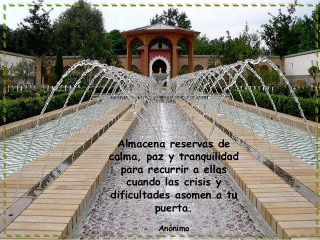 Almacena reservas de calma, paz y tranquilidad para recurrir a ellas cuando las crisis y dificultades asomen a tu puerta. ...