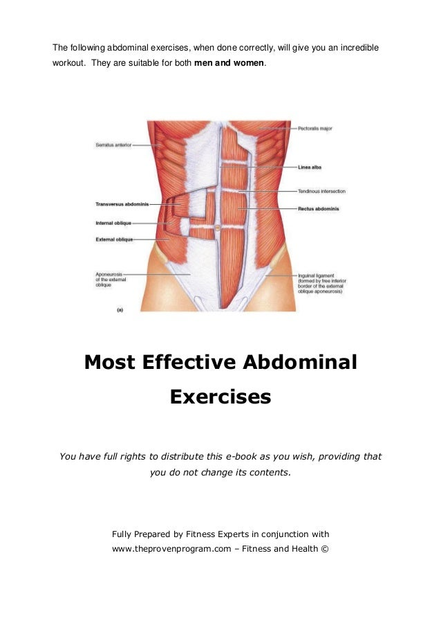 The following abdominal exercises, when done correctly, will give you an incredible workout. They are suitable for both me...