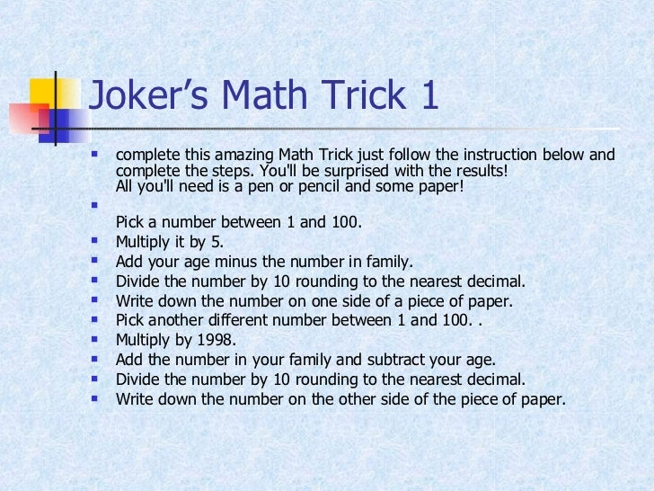 Amazing Maths Trick