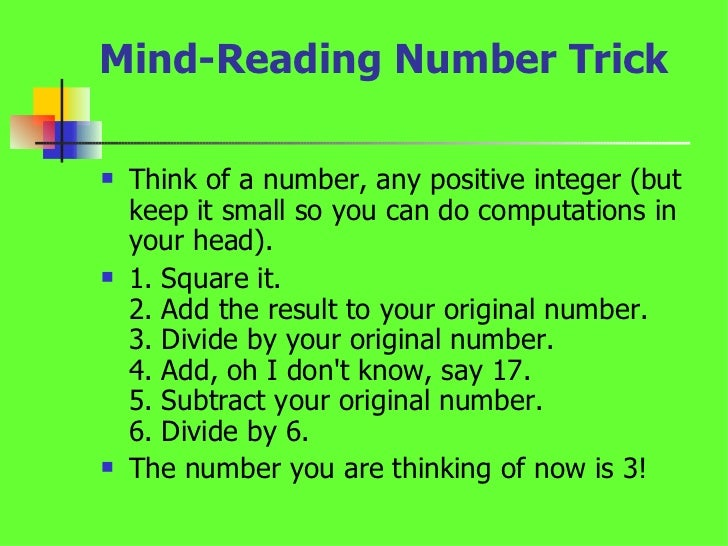 Math tricks with numbers