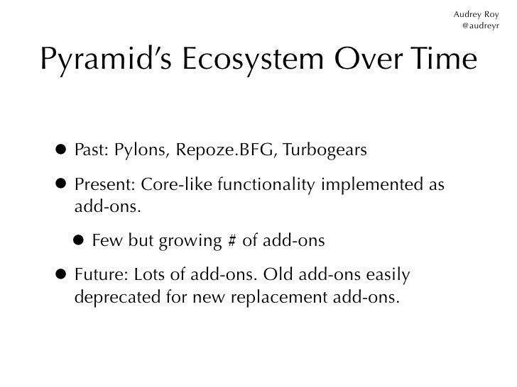 Audrey Roy                                                      @audreyrPyramid's Ecosystem Over Time• Past: Pylons, Repoz...