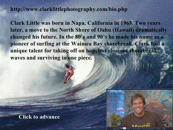 http://www.clarklittlephotography.com/bio.php Clark Little was born in Napa, California in 1968. Two years later, a move t...