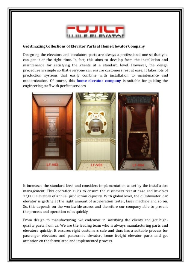 Amazing collections of elevator parts at home elevator company