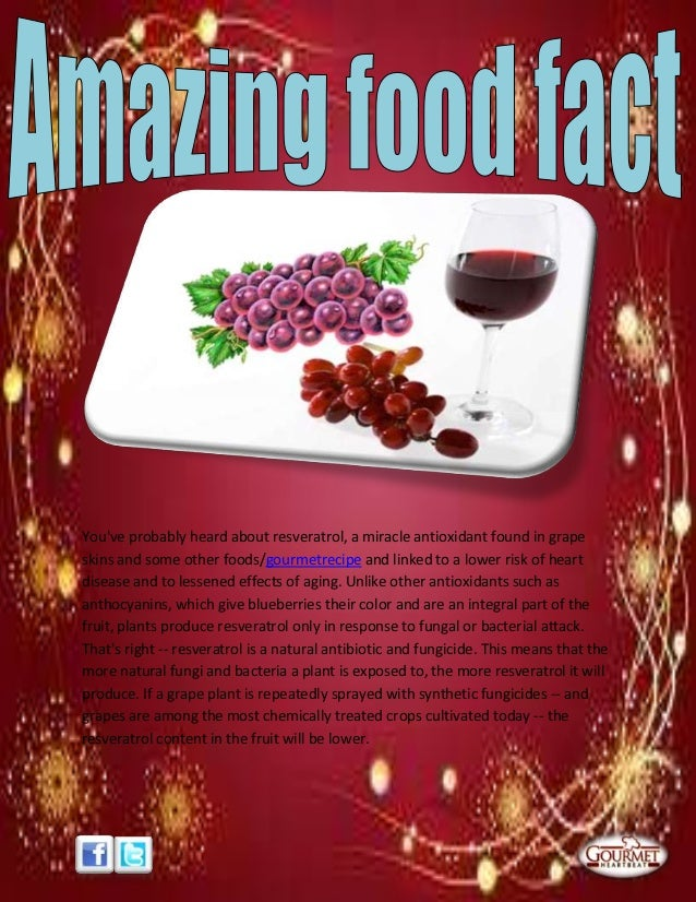 Youve probably heard about resveratrol, a miracle antioxidant found in grapeskins and some other foods/gourmetrecipe and l...