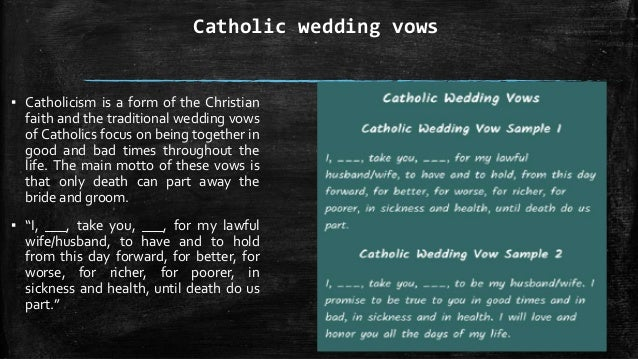 Traditional wedding vows sickness and health