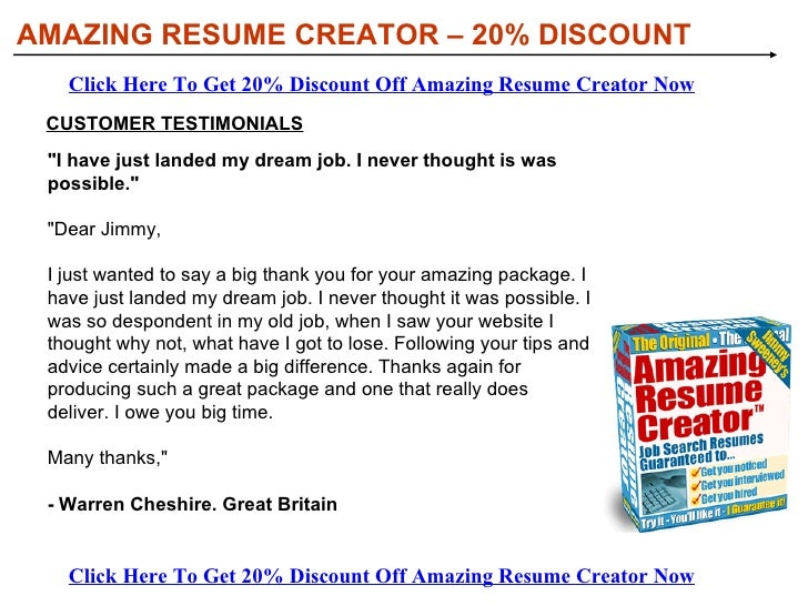 <ul><li>Point and click  your way to an amazing resume in just a few minutes.  </li></ul><ul><li>Create a PERSONAL  and po...