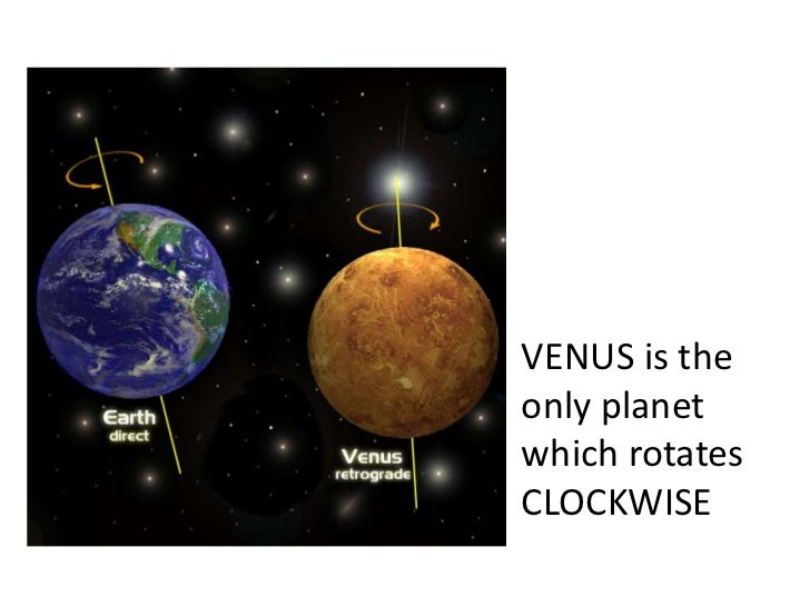 VENUS is the only planet which rotates CLOCKWISE<br />