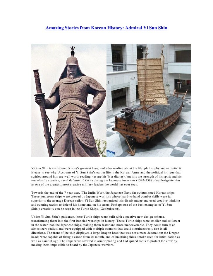 Amazing Stories from Korean History: Admiral Yi Sun Shin     Yi Sun Shin is considered Korea's greatest hero, and after re...