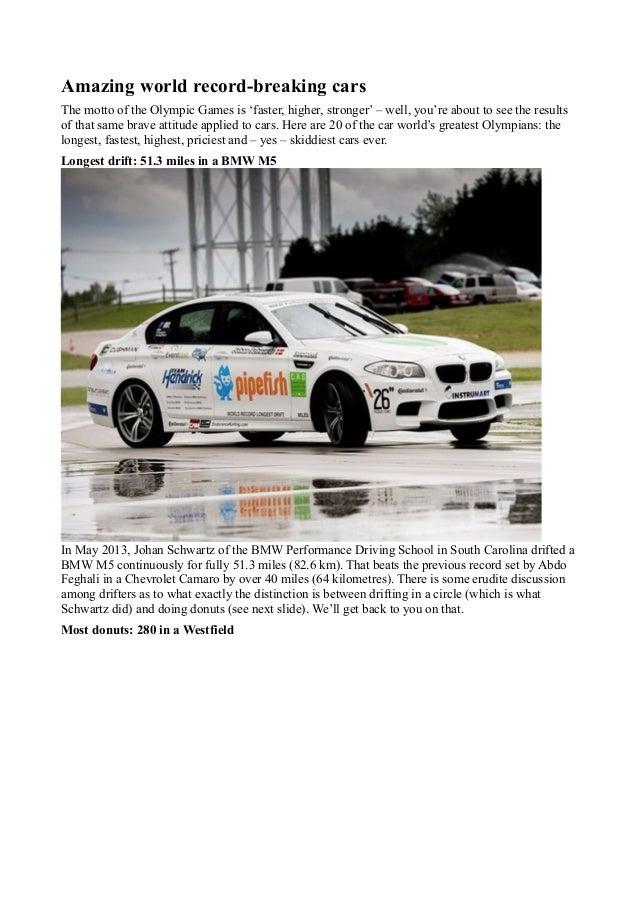 Amazing world record breaking cars