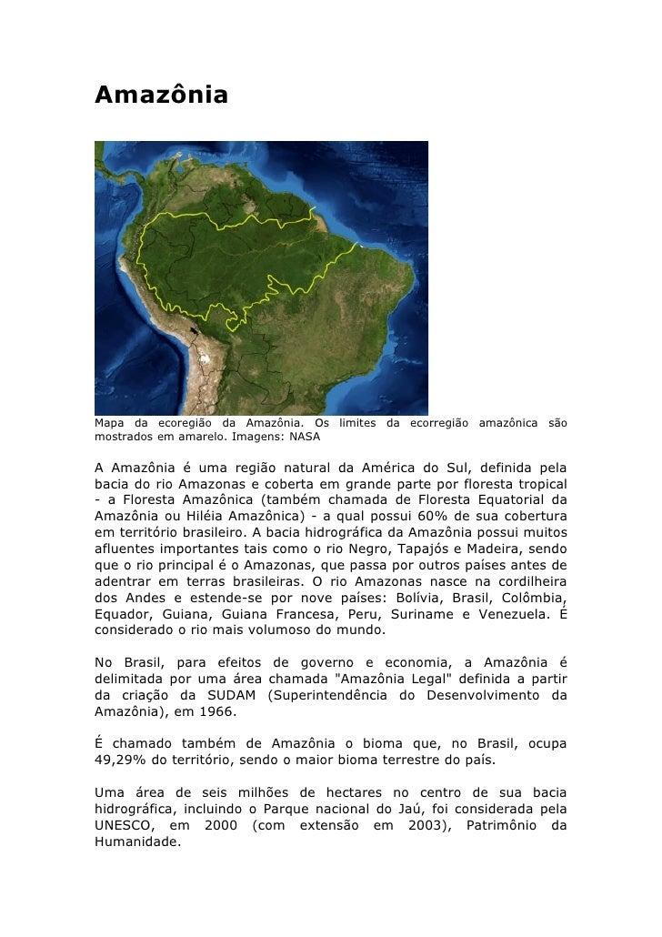 Amazônia     Mapa da ecoregião da Amazônia. Os limites da ecorregião amazônica são mostrados em amarelo. Imagens: NASA  A ...