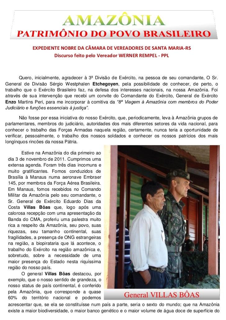 EXPEDIENTE NOBRE DA CÂMARA DE VEREADORES DE SANTA MARIA-RS                     Discurso feito pelo Vereador WERNER REMPEL ...