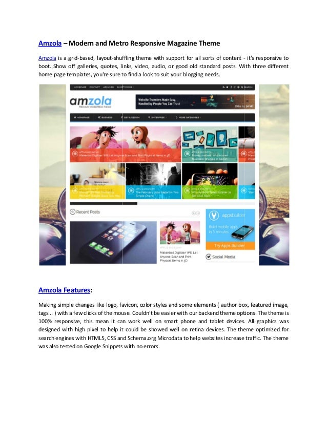 Amzola – Modern and Metro Responsive Magazine Theme Amzola is a grid-based, layout-shuffling theme with support for all so...