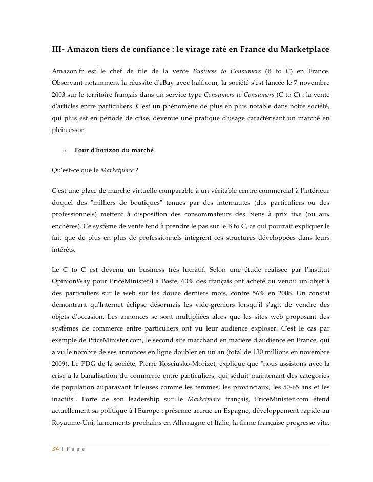 III- Amazon tiers de confiance : le virage raté en France du MarketplaceAmazon.fr est le chef de file de la vente Business...
