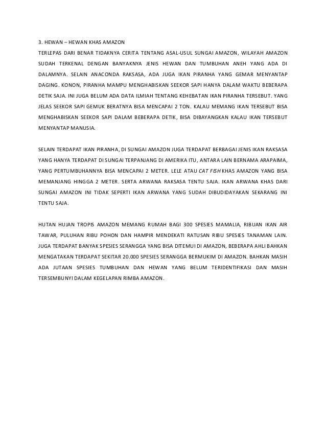 3. HEWAN – HEWAN KHAS AMAZON TERLEPAS DARI BENAR TIDAKNYA CERITA TENTANG ASAL-USUL SUNGAI AMAZON, WILAYAH AMAZON SUDAH TER...