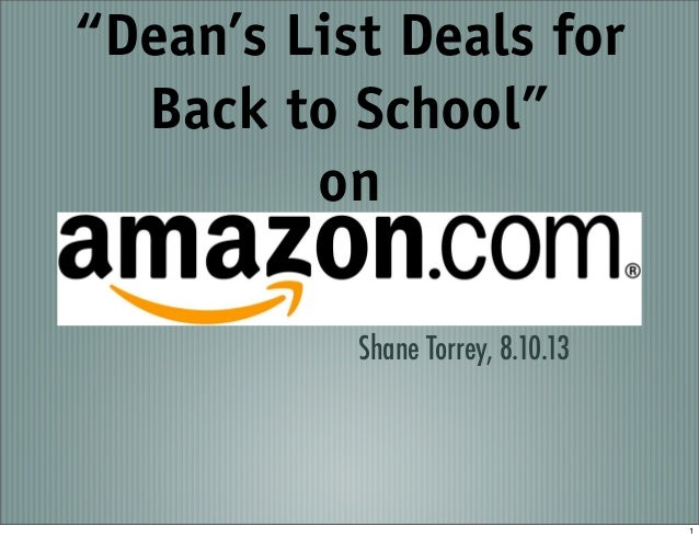 """Dean's List Deals for Back to School"" on Shane Torrey, 8.10.13 1"