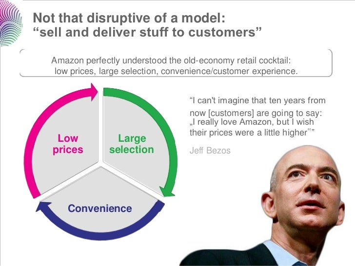 """Not that disruptive of a model:""""sell and deliver stuff to customers""""  Amazon perfectly understood the old-economy retail c..."""